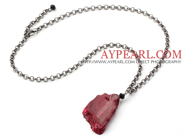 Simple Design Pink Red Color Irregular Shape Crystallized Agate Pendant Necklace ( The stone is not complete )