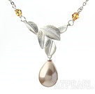 Classic Design Cream Color Drop Shape Seashell Pendant Necklace with Metal Leaves and Metal Chain