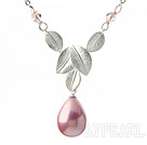 Classic Design Pink Color Drop Shape Seashell Pendant Necklace with Metal Leaves and Metal Chain