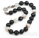 Wholesale Single Strand Round Crystalloid Agate Beaded Knotted Necklace