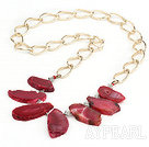 Faceted Crystallized Red Agate Necklace with Bold Metal Loop Chain ( The Stone May Not Complete)