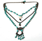 Rectangle Shape White Malachite Stone Necklace with Big Metal Chain