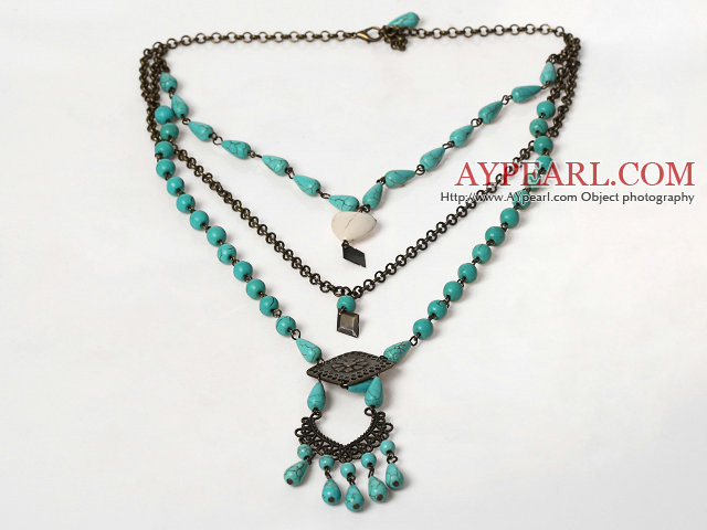Multi Layer Vintage Turquoise Necklace with Bronze Chain