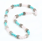 Fashion Single Strand Rose Quartz And Turquoise Beads Necklace with Metal Accessory