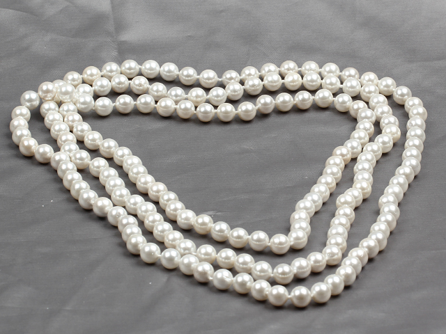 Long Style 8mm White Color Round Sea Shell Beaded Necklace
