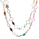 Long Lovely Style White Pearl and Multi Shape Multi Color Shell Necklace