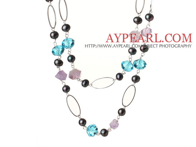 Beautiful Long Style Irregular Amethyst and Black Pearl Blue Crystal Necklace