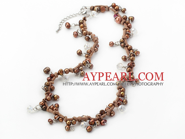 Single Strand Brown Series Brown Freshwater Pearl and Brown Cord