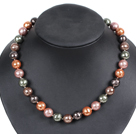 Long Style Austrian Crystal and Purple Red Pearl and Gray Seashell Necklace ( No Clasp )