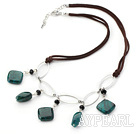 Wholesale Simple Style Phoenix Stone and Black Crystal Necklace with Metal Loop and Brown Cord