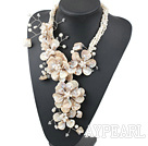 Wholesale New and Big Style White Freshwater Pearl and Shell Flower Party Necklace