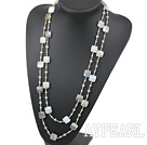 Wholesale Long Style Square Shape Gray Agate and Gray Crystal Necklace ( No Clasp )