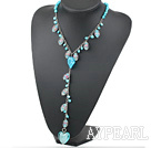 Wholesale Fashion Style Dyed Sky Blue Pearl and Colored Glaze Y Shape Necklace
