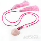 Wholesale Pink Series Ethnic Style Rose Quartz Flower and Crystal Tassel Necklace