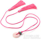 Wholesale Pink Series Ethnic Style Rose Quartz Donut and Crystal Tassel Necklace