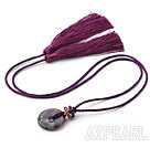 Wholesale Purple Series Ethnic Style Amethyst Donut and Crystal Tassel Necklace