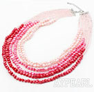 Pink Series Multi Strands Gradual Color Change Freshwater Pearl Beaded Necklace