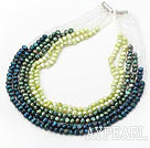 Wholesale Green Series Multi Strands Gradual Color Change Freshwater Pearl Beaded Necklace