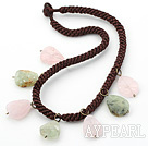 Assorted Frosted Drop Shape Rose Quartz and Prehnite Necklace with Bold Brown Rope