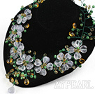 Elegant stil Blandade Multi Color Crystal och Cats Eye Flower halsband