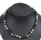 Simple Pretty Multi Color Faceted Round Seashell Beads Choker Necklace With Rhinestone Clasp