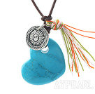 Simple Design Heart Shape Blue Turquoise and Tibet Silver Accessory Pendant Necklace with Brown Leather Cord