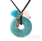 Simple Design Donut Shape Burst Pattern Turquoise and Rose Flower and Tibet Silver Owl Pendant Necklace with Black Cord