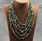 Elegant Five Layer Natural Green Rebirth Pearl Crystal Party Necklace
