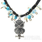 New Design Clear and Blue Crystal and Owl Shape Pendant Necklace with Black Cord