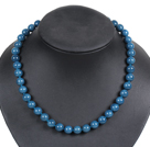 Simple Pretty Deep Blue Round Seashell Beads Choker Necklace