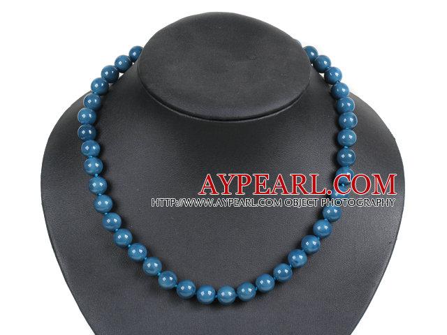 Simple Pretty Deep Blue Round Seashell Beads Choker Necklace