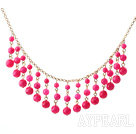 New Design Hot Pink Candy Jade Tassel Necklace with Metal Chain