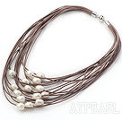 Discount Multi Strands 11-12mm Natural White Freshwater Pearl Brown Leather Necklace with Magnetic Clasp