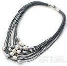 Discount Multi Strands 11-12mm Natural White and Gray Freshwater Pearl Gray Leather Necklace with Magnetic Clasp