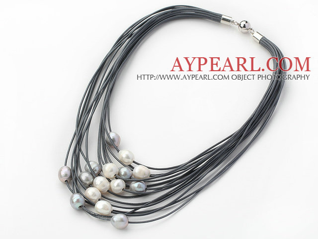 Multi Strands 11-12mm Natural White and Gray Freshwater Pearl Gray Leather Necklace with Magnetic Clasp