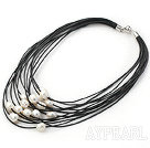 Discount Multi Strands 11-12mm Natural White Freshwater Pearl Black Leather Necklace with Magnetic Clasp