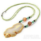 Simple Design Big Crystallized Agate Pendant Necklace with Light Green Thread