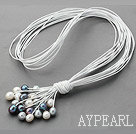 Ny design Multi Strands 11-12mm Natural White Svart Grå sötvattenspärla Läder Halsband