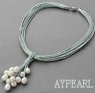 Nytt design Multi Strands 11-12mm Natural White Freshwater Pearl Leather Halskjede med magnetisk lås