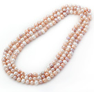 Long Style 8-9mm White and Pink and Violet Round Freshwater Pearl Beaded Knotted Necklace