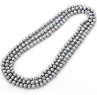 Long Style 8-9mm Gray Round Freshwater Pearl Beaded Knotted Necklace