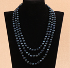 Long Style 8-9mm Black Round Freshwater Pearl Beaded Knotted Necklace