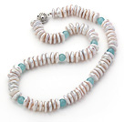 Wholesale Single Strand White Coin Pearl Necklace and Blue Jade Necklace