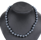 Simple Pretty Black Round Seashell Beads Choker Necklace With Rhinestone Clasp