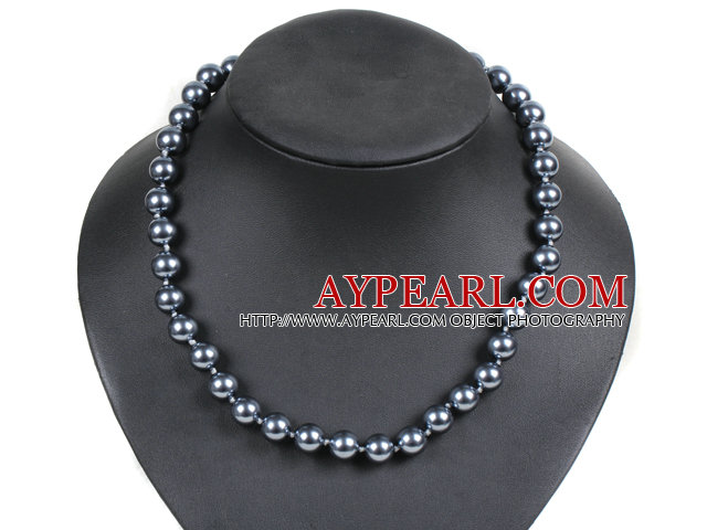 Simple Pretty Black Round Seashell Beads Choker Necklace With Rhinestone Clasp