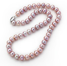 Wholesale A Grade Nearly Round 8-9mm Natural Violet Freshwater Pearl Knotted Necklace with Magnetic Clasp