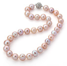 Wholesale 12-14mm Natural Pinka and Violet Freshwater Pearl Knotted Necklace with Magnetic Clasp