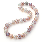 Wholesale 12-14mm Natural White and Pink and Violet Freshwater Pearl Knotted Necklace with Magnetic Clasp