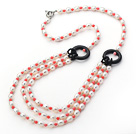 Three Layer White Freshwater Pearl and Pink Coral and Black Agate Donut Necklace