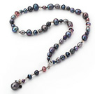 Fashion Style Black Freshwater Pearl Crystal Y Shape Necklace